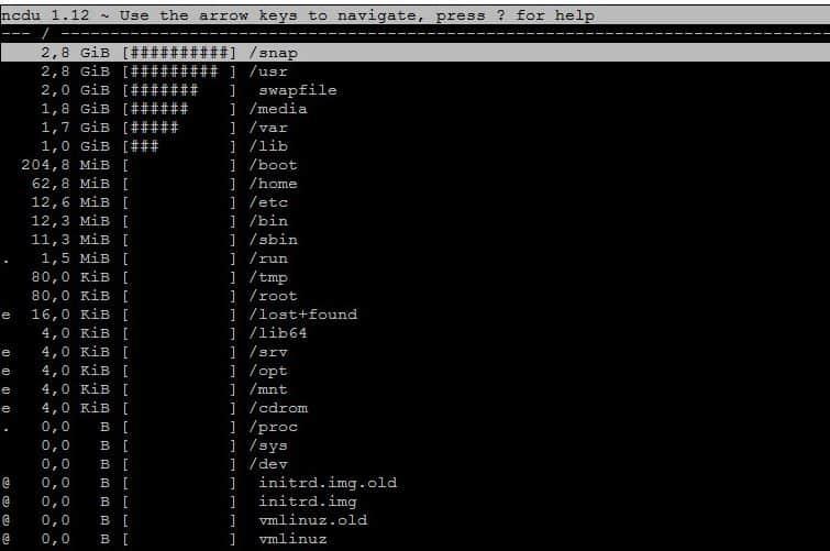 ncdu disk usage