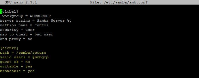 samba Secure sharing