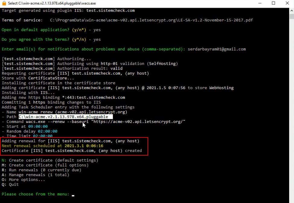 Let's Encrypt on IIS setup and configuration 7